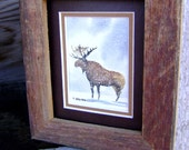 Free Shipping Big Brown Moose... Watercolor painting for him