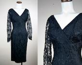 Vintage 50s Dress / Black Lace Dress / Wiggle Dress / Cocktail Dress / Mad Men Dress