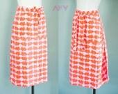 Vintage 70s Skirt / Maxi Skirt / Wrap Skirt / Bunny Print / Orange and Pink