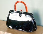 Vintage Patent Purse /  Mad Men Handbag / Mod Bag / Lucite Handle / Heart Print / Large