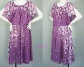 RESERVED 70s Dress Flutter Bow Shoulder Draped 1970s Disco Purple Grecian Drape Floral Sheer Garden Party Vintage Midi Dress XL XXL