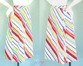 Vintage Wrap Skirt / 1970s Skirt / Colorful Stripe / A line