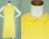 Vintage 60s Shift Dress / Mod / Mad Men / Peter Pan Collar / Bright Yellow
