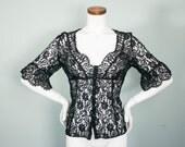 Vintage 90s Shirt / Black Lace Blouse / Goth Victorian Corset / L XL