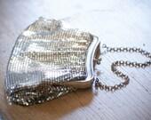 Vintage Whiting and Davis Purse / Wedding Purse / Mesh Handbag / Silver