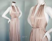 Vintage Goddess Gown / 70s Lingerie / Nylon Nightie / Taupe / John Kloss for Cira