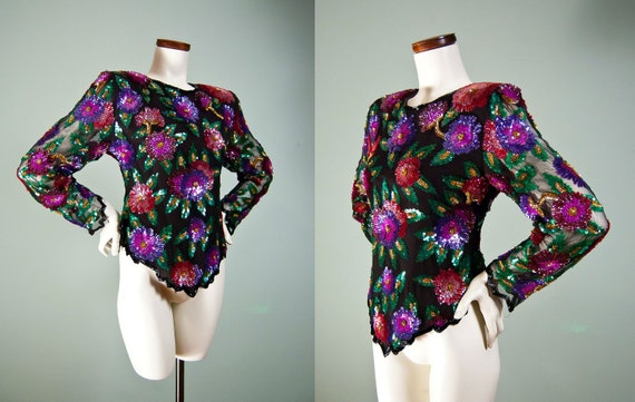 Hold Please Do Not Purchase 80s Sequin Top / Silk Blouse / Sheer Party Blouse / Glam 1980s / Disco Blouse /