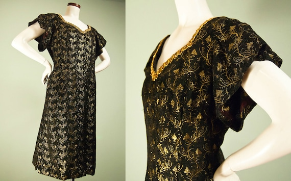 Vintage 1960s Dress XL / Plus Size Vintage Dress / Mad Men Dress / Rockabilly Dress / Gold Lame / Flutter Sleeve / Wiggle Dress / L XL