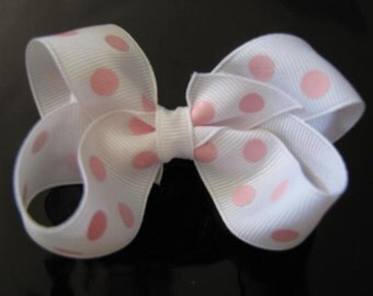 White and Pink Dot Boutique Bow