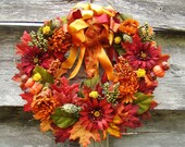 Bursting With Autumn Colors Full Fancy Falling Leaves Large Fall Wreath