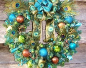 Funky Feathered Fun Animal Print Peacock Feathers Brown Turquoise Lime Glitter Christmas Ornament Ball Ribbon Wreath