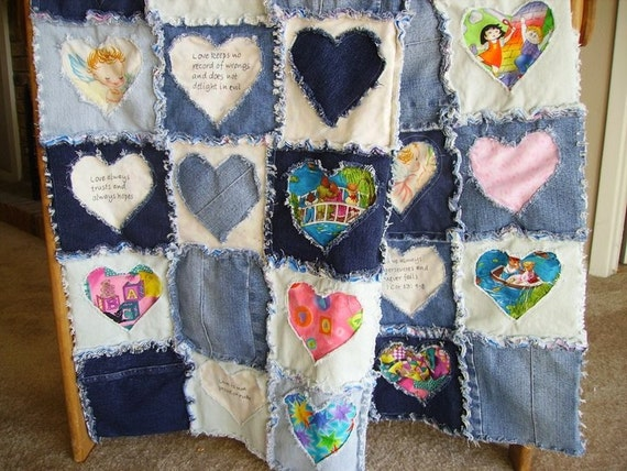 Blue Jean Rag Baby Child Lap Quilt