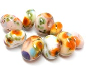 """SALE...Lampwork Bead set SRA Handmade """"ballet slippers"""" yellow, peach, soft pink, light green, sky blue, lavender white and silver 50712-1"""