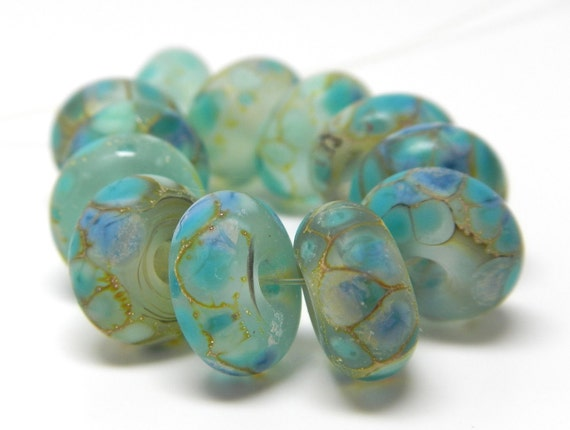 Made to Order (12) sea glass collection...larimar look-a-likes lampwork beads SRA handmade in tranquil aqua blue
