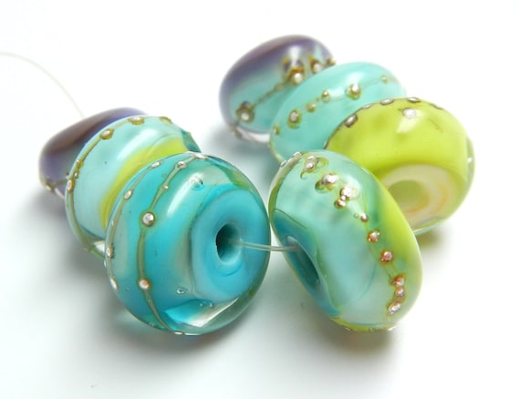 SRA handmade island pastels and pure silver set of  Lampwork Beads 60812-1 for making jewelry, necklaces, bracelets, earrings