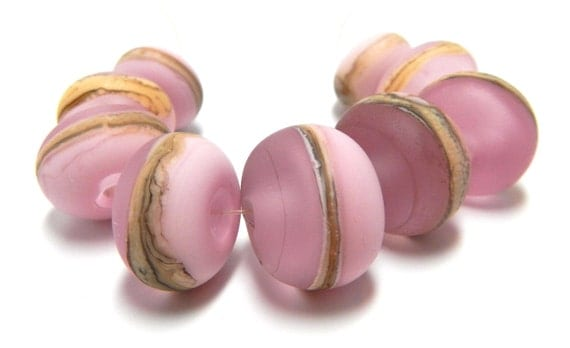 pink ivory beach ...SRA Handmade silvered ivory tones of pinks and ivory Lampwork Bead set for making jewelry - 61712-3