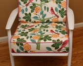 CLEARANCE Upholstered chair with raspberry birds and white wood