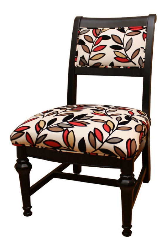 Upholstered chair black and red with flocked leaves