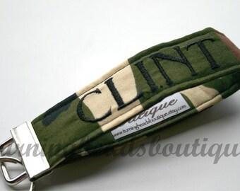 Monogrammed Camo Fabric Key Fob / Personalized Wristlet Key chain / Book bag tag/  Luggage Tag