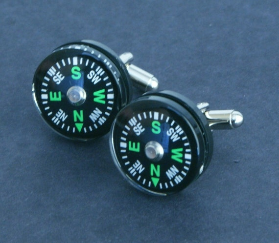 Cuff Links, Black Compass Cufflinks wedding, father, guy gift, FREE Gift Bag by findstotreasure