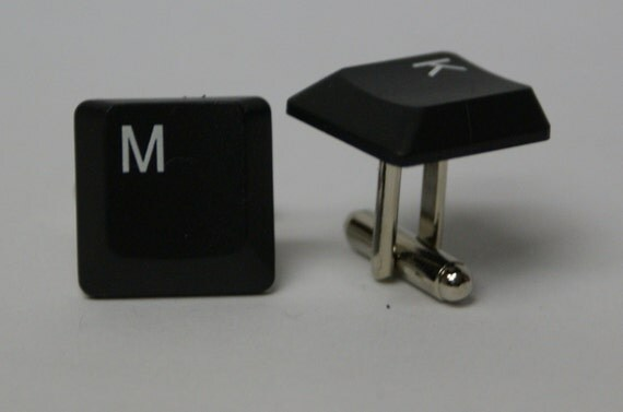 You Pick The Keys Thin Black Computer Keyboard Key Cufflinks Personalized FREE Gift Bag cuff links by findstotreasure