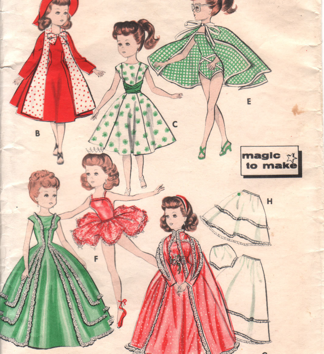 50s vintage clothes sewing pattern for 20 inch by honeymoonbus