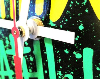Neon Green Pink Yellow Graffiti Black Skateboard Deck Clock Deathwish Fireworks  --Ready to Ship--