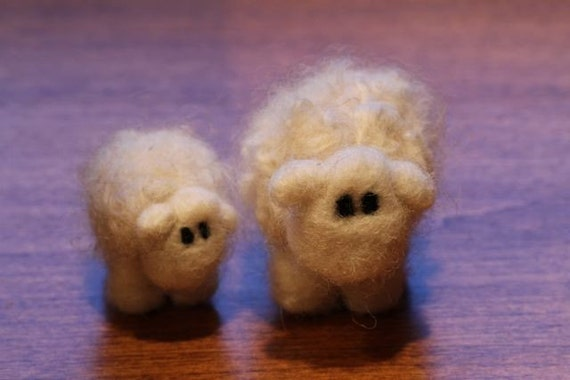 Needle Felted Mother and baby sheep