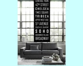"""Largest Subway Sign on Etsy - Industrial Loft, Gorgeous and Bold New York City Subway Sign, Canvas Huge 34""""x94"""" Almost 8 FEET TALL"""