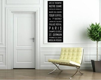 Subway Sign Wall Art Decor Paris Metro, Bus Blind, Tram Scroll, Transit Print on Styrene 12x36