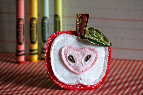 Back To School, Apple Slice, Hair Clip or Brooch Pin