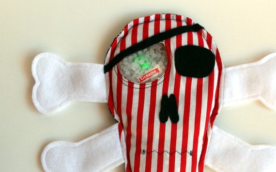 Pirate Skull I Spy Bag, Eye Spy, Search and Find Toy, red, white Stripe & Skull Print Fabric