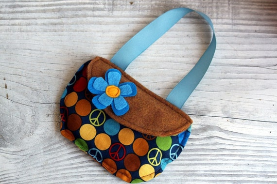 Purse I Spy Bag, Eye spy, Search and Find Travel Toy Blue Brown Mustard Dots Peace Flower