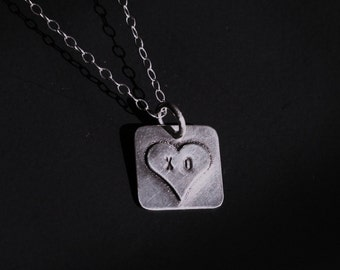 Sterling silver heart charm necklace personalized