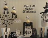 Printable Halloween Collection Black and White Witch and Chandelier