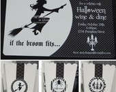 Printable Halloween Invitation Witch Black and White
