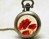 Watch necklace pendant charm . Poppy - handmade photo pendant