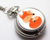Pocket watch necklace pendant charm mini pocketwatch  Fox necklace