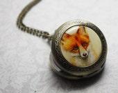 Watch necklace pendant charm men's pocket watch Fox Illustration picture pendant wearable art