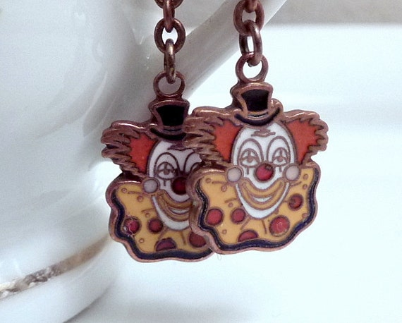 Clown Dangle Earrings Vintage Enameled Carnival Circus Charms