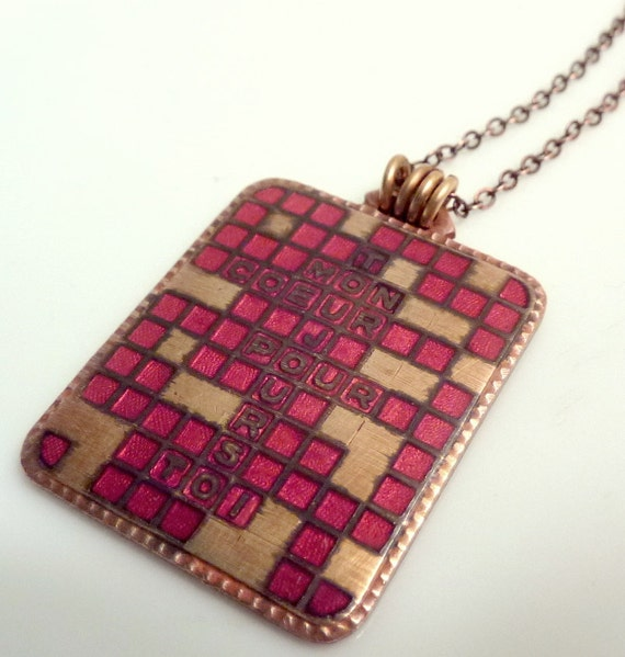 French Fob Pendant Vintage Red Enameled Crossword Puzzle