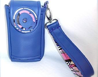 Phone Wristlet Pocket Camera Case Purple Vinyl and Retro Print Fabric Gadget Case w Handle Strap