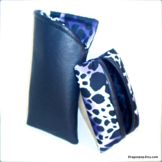 Animal Print Sunglasses Case Set, Black White and Purple Eyeglass Cover and Tissue Case