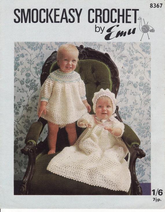 Vintage Crochet Baby Dress Pattern : vintage crochet pattern pdf smockeasy baby dress christening