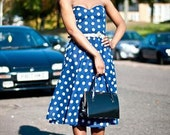 Retro  Blue Polka Dot Dress