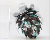 Chocolate Brown Ribbon Pine Cone Ornament with Silver and Aqua Accents