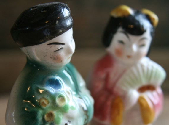Vintage Oriental Salt & Pepper Shakers - Altered Art, Mixed Media or Assemblage - Vintage, Shabby Chic or Romantic Home or Studio