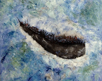 Extra large boat wall art-Ship oil painting-Original sea abstract Painting-Blue seascape Impressionist art-Marine canvas.FREE SHIPPING