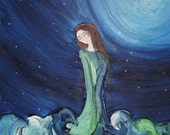 Sea Goddess a4 Hand signed & mounted fine art print of original painting 8 x 11.5