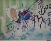Bog Monster - a4 Hand signed & mounted fine art print of original painting 8 x 11.5